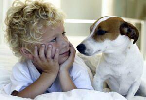 Дети и животное в доме